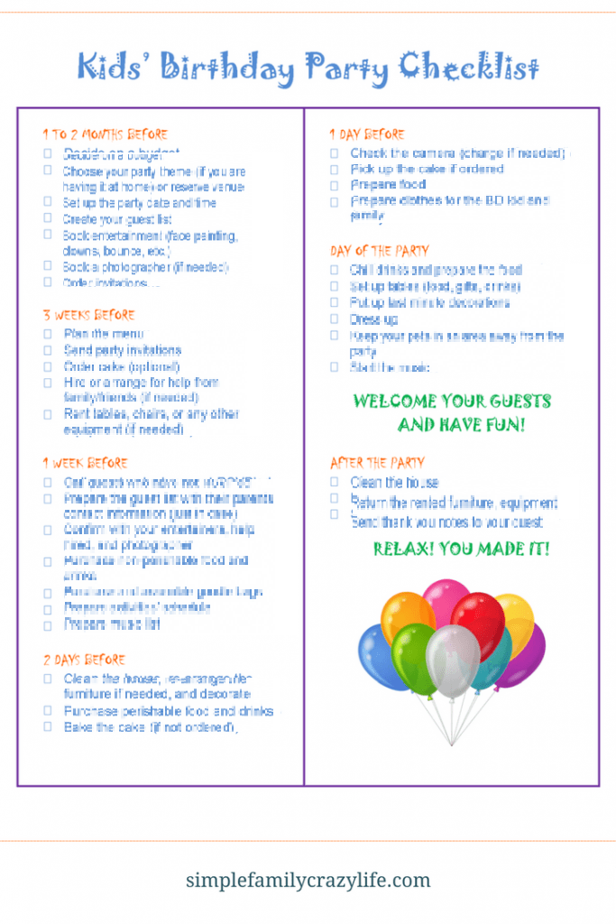 Kids Birthday Party Checklist
