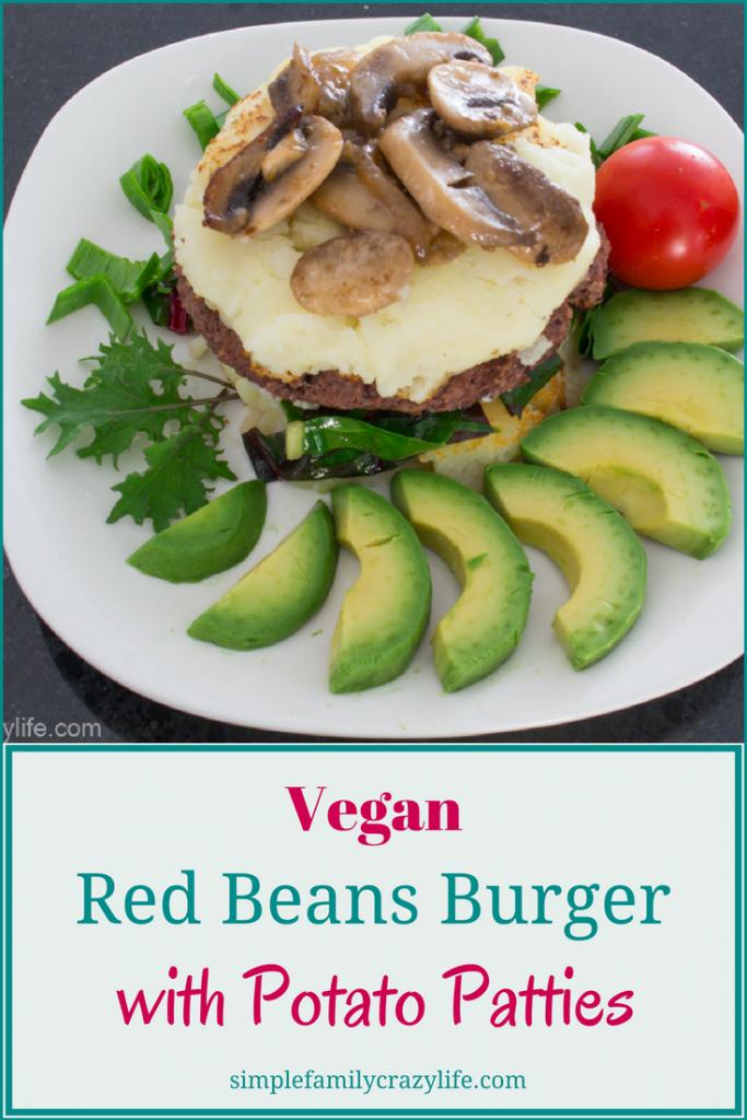 Vegan Red Beans Veggie Burger with Potato Patties