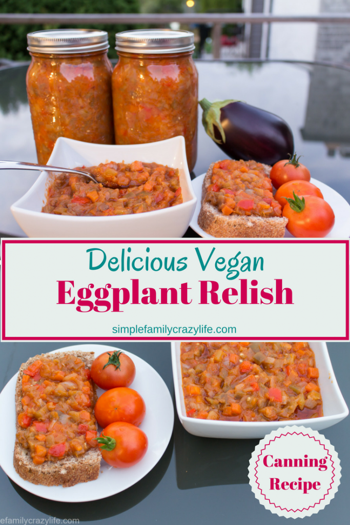 Delicious vegan Eggplant Relish recipe for canning