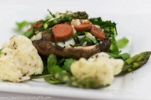 Stuffed Portobello Mushrooms with Vegetables and Vegan Sausage