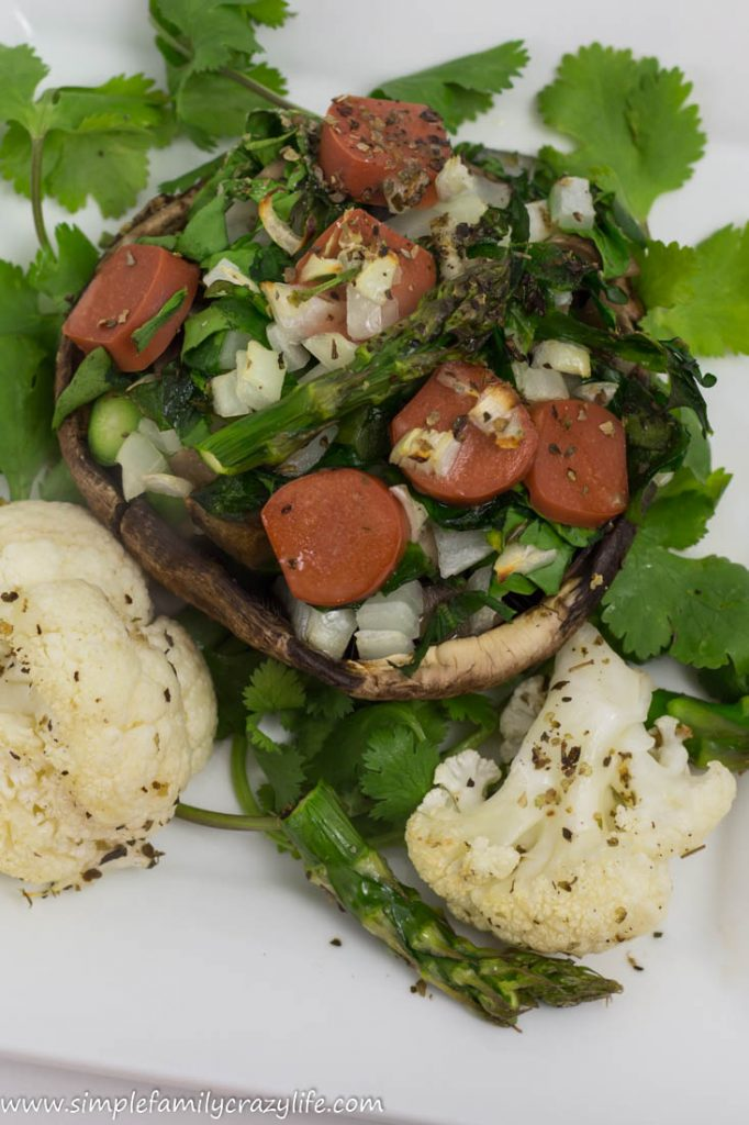 Stuffed Portobello Mushrooms with Vegetables and Vegan Sausage recipe