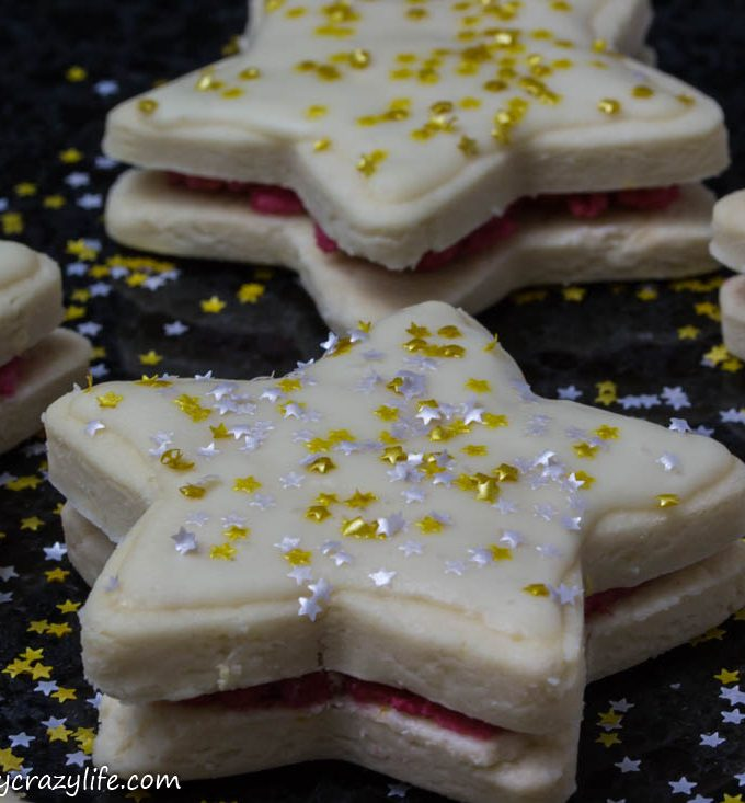 Star-Shaped Vegan Sandwich Cookies with Glitter Stars #Choctoberfest 2018